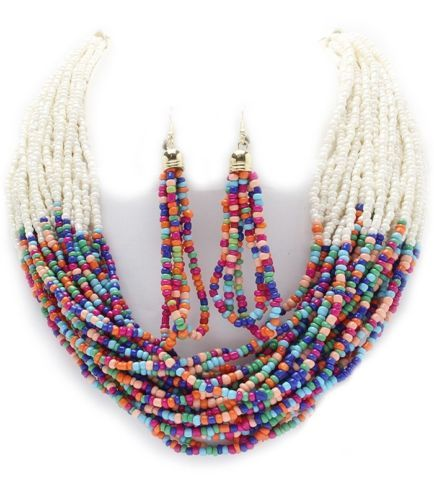 Multi Color Seed Bead White Multi Strand Gold Chain Necklace Earring Set