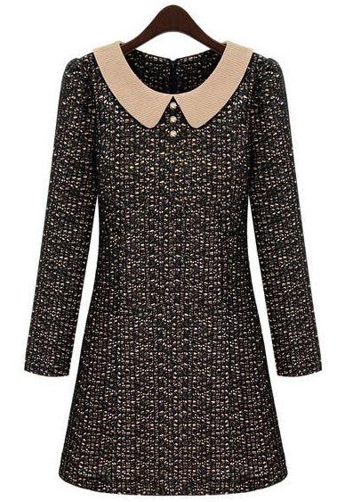 Black Contrast Lapel Long Sleeve Lace Dress US$31.48