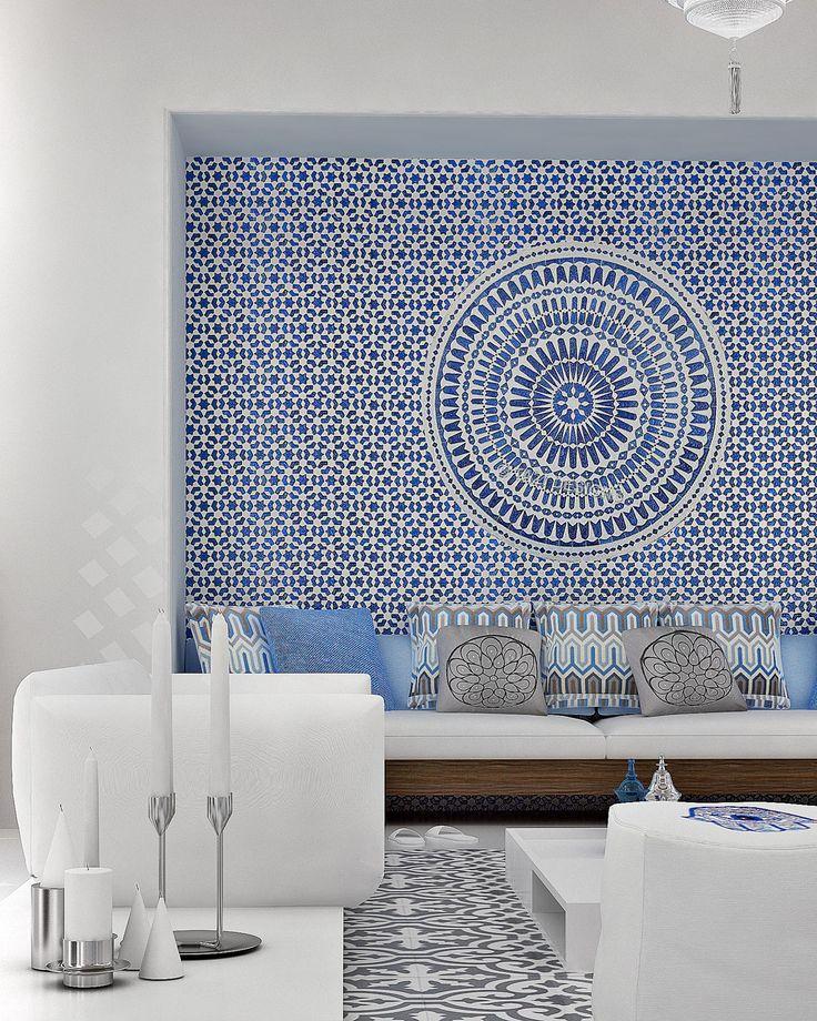 tapetes con mosaico de pasta en muros