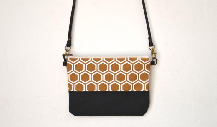 Geometric print bag, cross body bag, Silkscreen print, shoulder bag, printed crossbody bag, leather strap, Small cross body bag by UMEHARAKABAN on Etsy