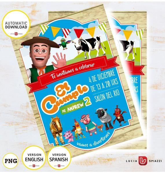 Zenón Farm Child S Invitation Card From Zenón Farm With Etsy La Granja De Zenon Invitaciones De La Granja Tarjetas De Invitación