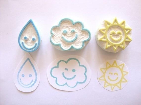每天都有好心情,有表情的天气跟你说hi呢~ stamp carving patterns simple