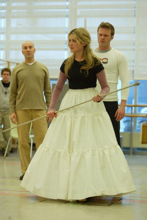 Wand in hand, Kendra Kassebaum rehearses for the Wicked Tour back in '05.