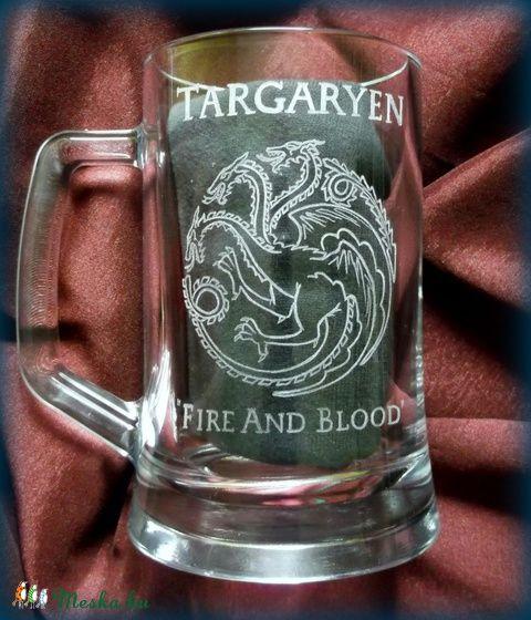 Meska - Trónok harca - Targaryen - gravírozott korsó turmix kézművestől