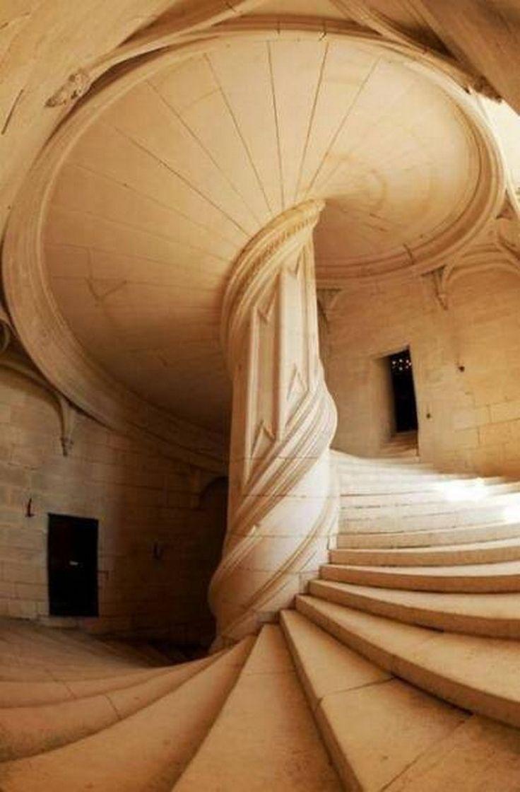 A staircase at Château de Chambord in La Rochefoucauld, France, created by Leonardo da Vinci in 1517.