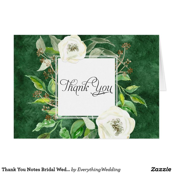 Thank You Notes Bridal Wedding Boho Leaf Wreath Beautiful, modern and stylish thank you notes to use for bridal stationery, wedding thank you notes and business correspondence. Featuring a deep, forest green hand painted watercolor background with a woodland nature inspired square shaped wreath and frame made of eucalyptus leaves, seeds, foliage and white wild roses. Art copyright Audrey Jeanne Roberts, all rights reserved.