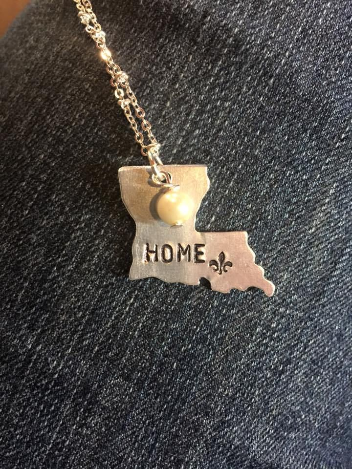 Hand Stamped Louisiana Necklace