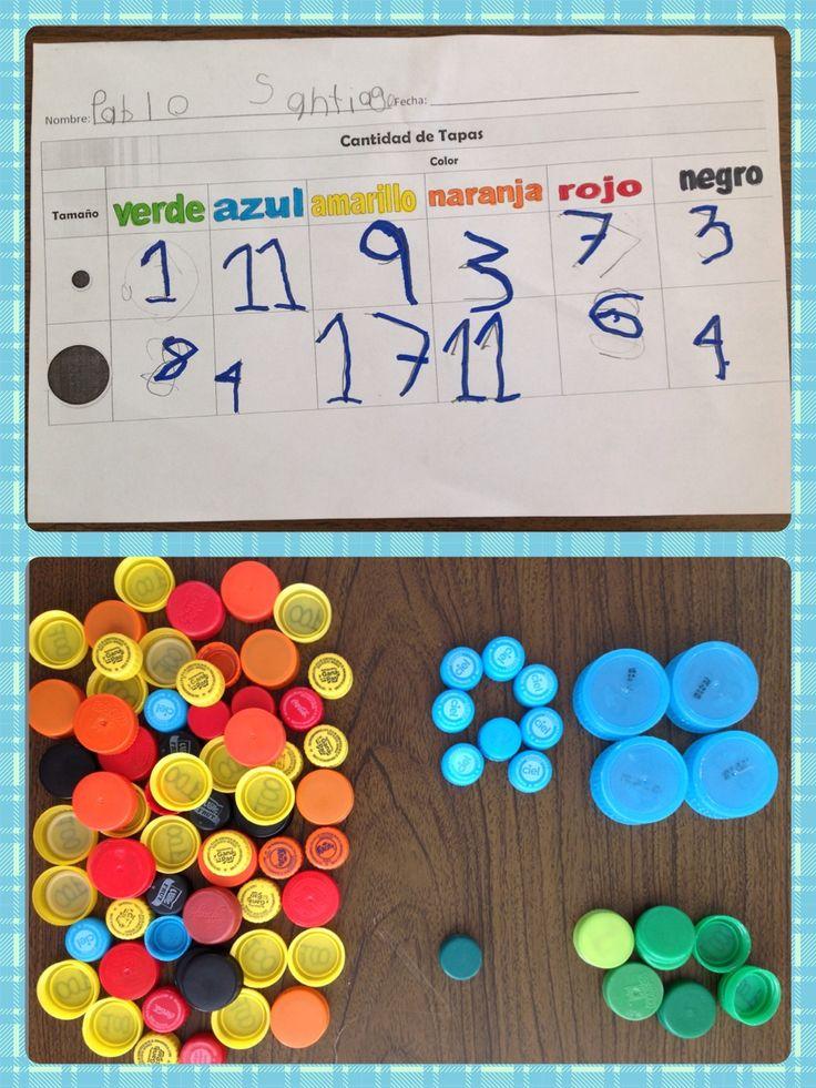 Tabla de datos: tapas chicas y grandes por colores!