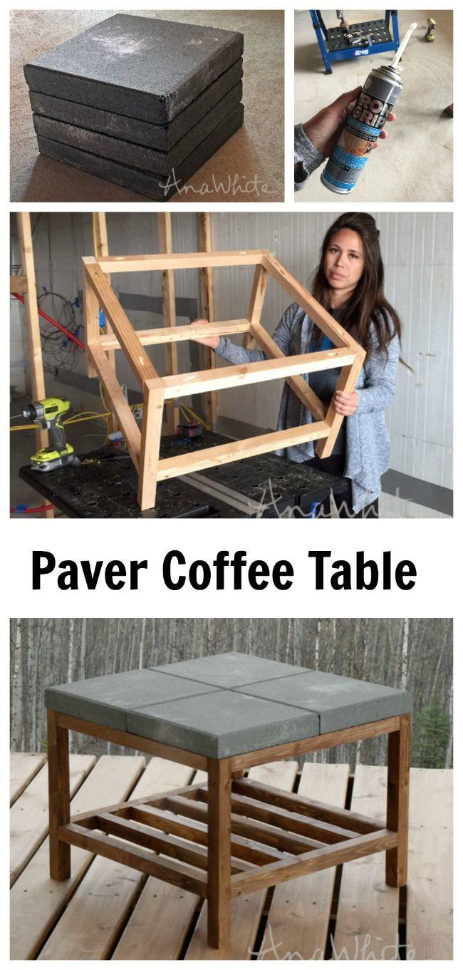 concrete paver DIY coffee table!