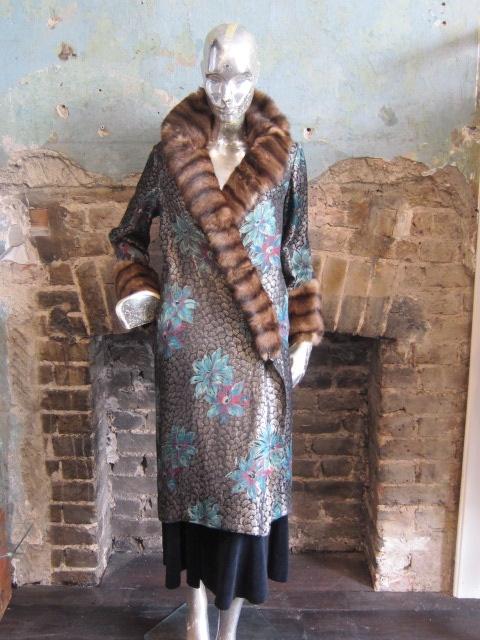 1920s Lame Coat with Fur Trim