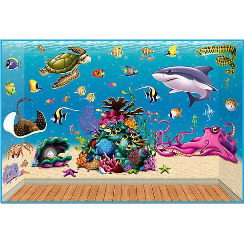 The Under the Sea Scene Setters will turn a wall of your party into a view of fish, sharks, eels and a coral reef.