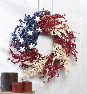 Patriotic Americana Berry Decorative Wall Door Wreath Polyester Rattan