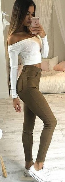 #fall #trending #outfits |  White Crop + Khaki Jeans