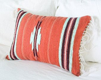 Mexican Blanket Pillow in Burgundy, Coral/ Salmon, Light Pink & Light Mint // southwestern throw pillow // navajo // aztec