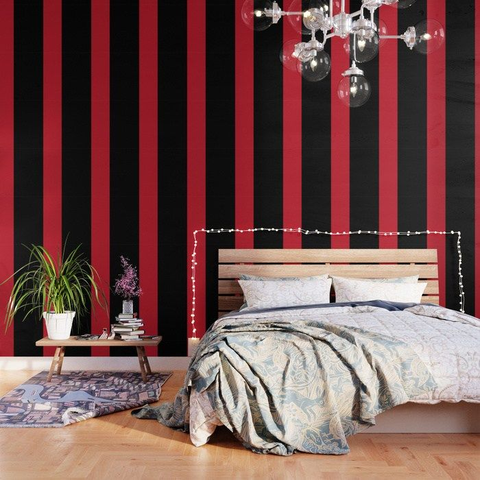 49 Our Peel And Stick Wallpaper Is Easy To Apply And Take Off Leaving No Adhesive Residue Featu Red And Black Wallpaper Black Wallpaper Striped Accent Walls