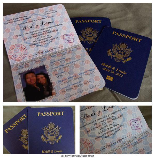 Realistic Passport Wedding Invitations