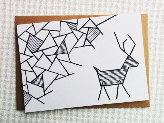 Christmas card - Card - Kerstkaart - Happy new year card - Card christmas - Holiday card - Christmas reindeer - Reindeer - xmas - Handdrawn