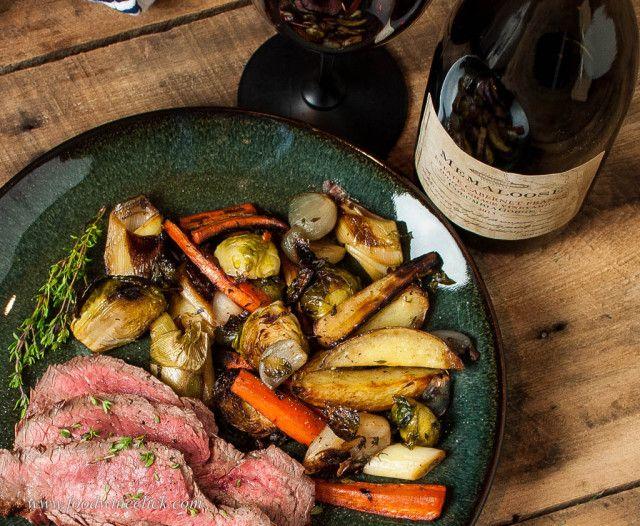 Grilled flank steak, roasted root vegetables and Memaloose Cabernet Franc!