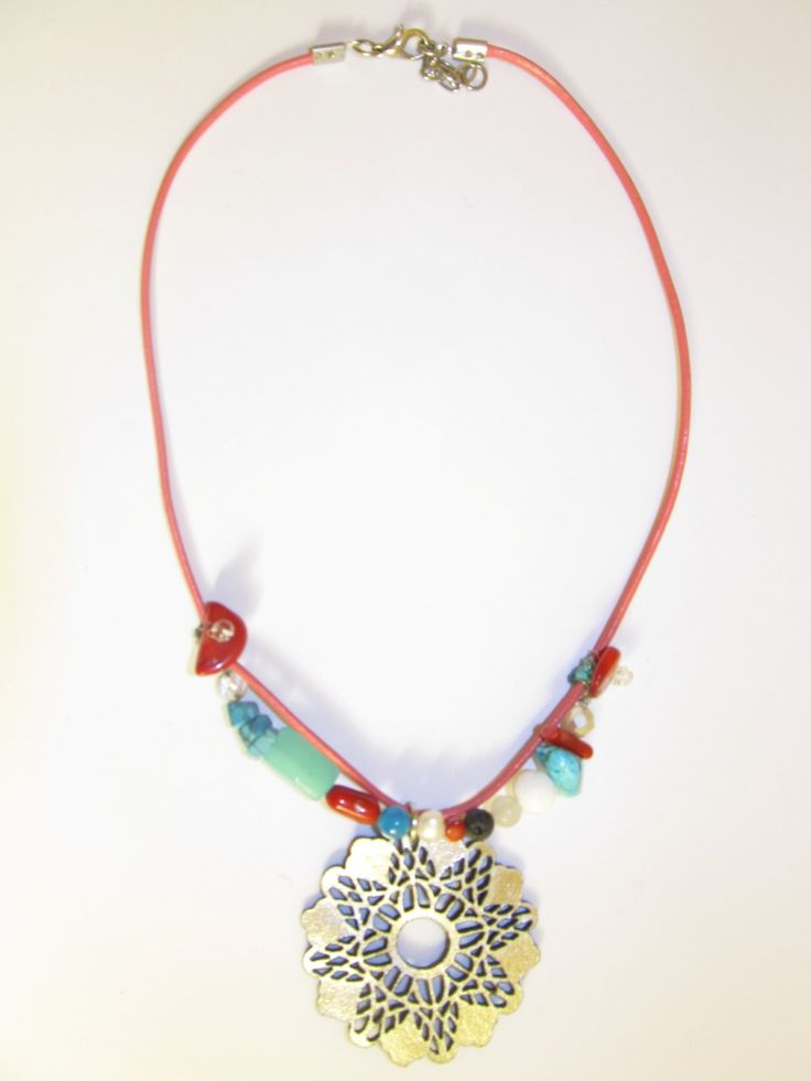 Handmade short leather necklace (1 pc)  Made with silver leather filigree, coral leather cord, semiprecious stones and glass beads.