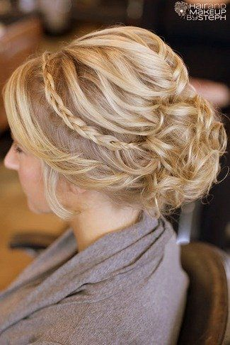 side hairstyle wedding flower   ... styled curls. A thin braid wrapped over crowns the hairstyle off