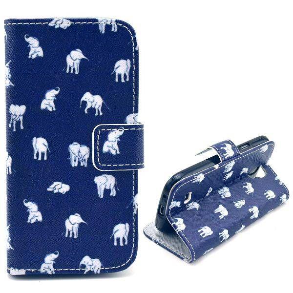 Olifantjes blauwe bookcase voor Samsung Galaxy S4 mini