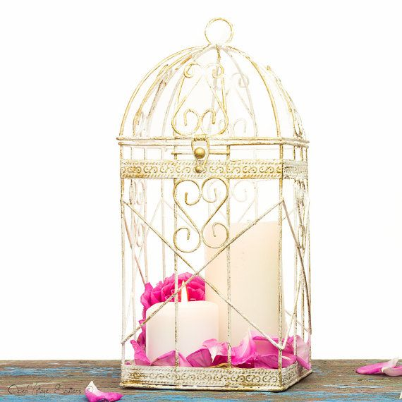 Christmas Decorations Wire Metal Bird Cage White Gold Candle Holder - Shabby Wedding Favors Cards Box - Candle Lantern Centerpiece SET OF 2