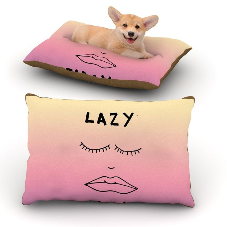 """Vasare Nar """"Lazy Today Tropical"""" Yellow Pink Dog Bed"""