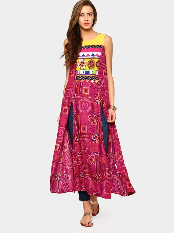Akkriti by Pantaloons Pink Printed Front Slit Regular Fit Kurta