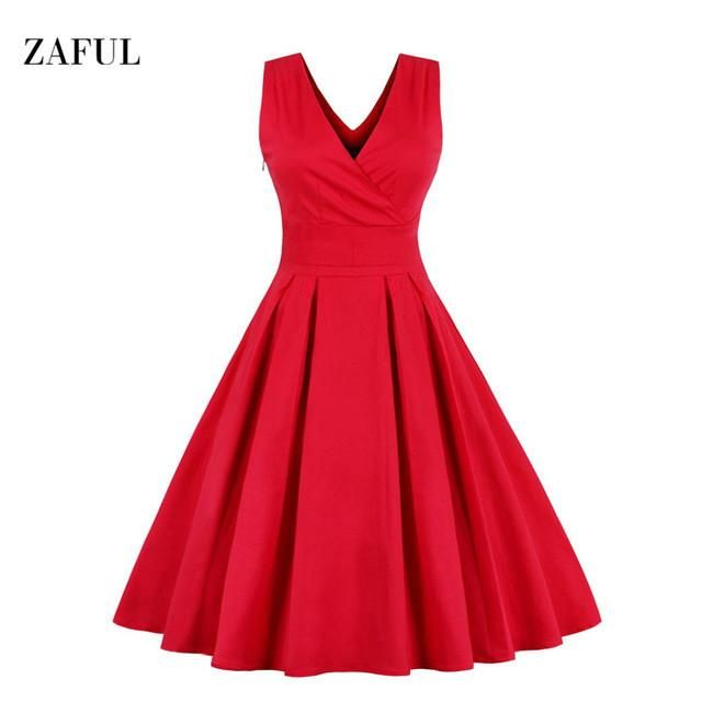 Zaful M-6XL Red Vintage Dress Women Summer Autumn Sexy V-neck Sleeveless Elegant Rockabilly Slim Tunic Dress