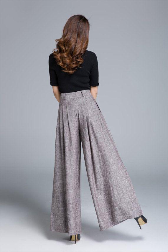 wide leg pants linen pant pleated pant brown pant womens