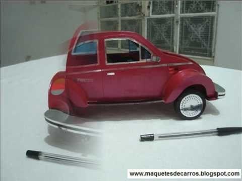 Miniatura de Fusca em papelão - Papercraft - Scale Model car