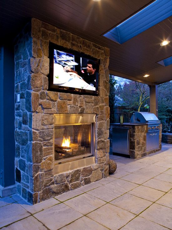 Screen porch Tv Over Fireplace Design Remodel