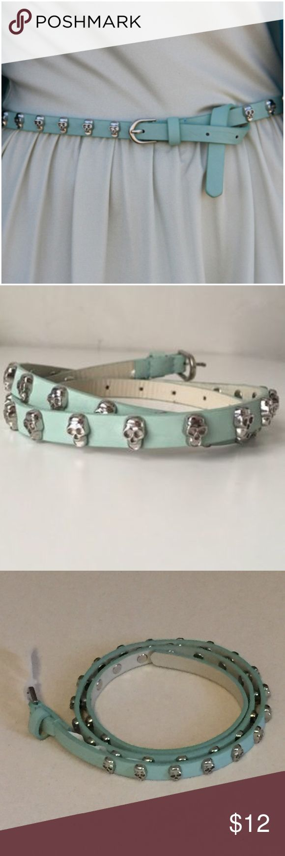 """NWT Mossimo Blue Belt w/ Silver Skulls XS, M, L Seafoam Green Mossimo Belt W/ Silver Skulls --- Available in XS, Small & Large --- size large belt has circumference of 34"""" -  39"""" --- Man made materials  PU ---  thank you for visiting my boutique, please feel free to ask any questions  Mossimo Accessories Belts"""