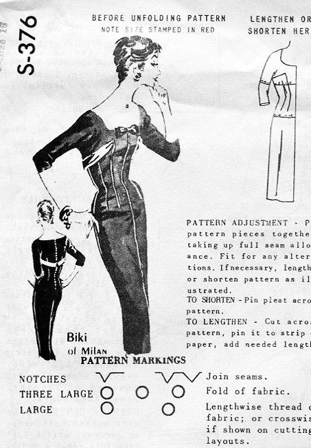1950s Stunning Biki of Milan Slim Sheath Cocktail Party Dress Pattern Spadea International Designer S-376 Wide Open Neckline Bombshell Slim Dress Bust 38 Vintage Sewing Pattern