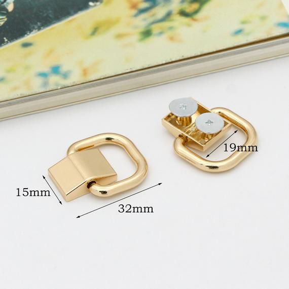 4pcs Gold Chain Connector Bridge Buckle D Ring Connector Ring