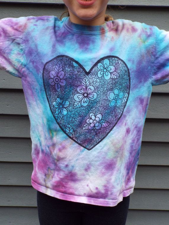 Hand dyed and drawn zentangle heart tshirt with flower motif. Girls size M from Anything on a Tie Dye at Creations by Maris https://www.etsy.com/listing/295270081/zentangle-heart-girl-valentine-shirt