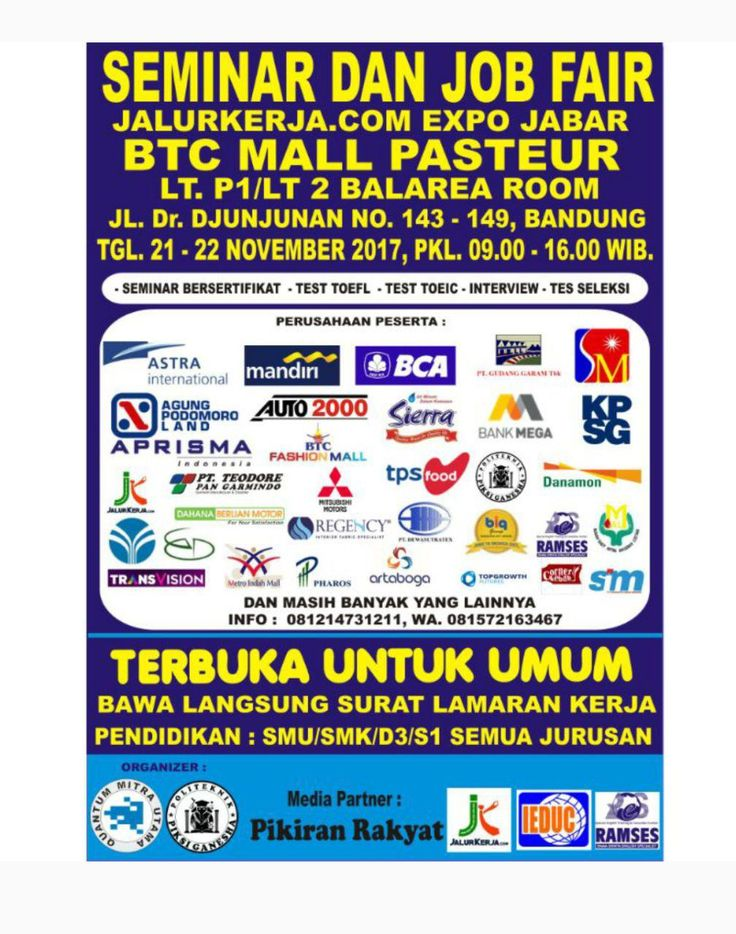 Seminar Dan Job Fair BTC Mall Bandung Pasteur 21 - 22 November 2017