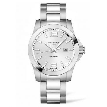 L37604766 Ανδρικό ελβετικό ρολόι LONGINES Conquest quartz με ημερομηνία, γκρι καντράν & μπρασελέ | Ανδρικά ρολόγια LONGINES ΤΣΑΛΔΑΡΗΣ στο Χαλάνδρι #conquest #ημερομηνια #longines #ρολόι