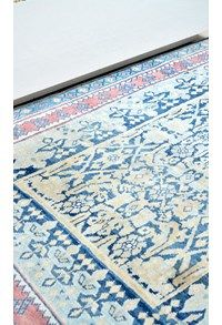 Antique Indian Carpets,Indigo Blue and rose Madder dyes The Carpet Cellar,Agra Jail Cotton<br>CC-4135<br>6.1 Feet X 4 Feet