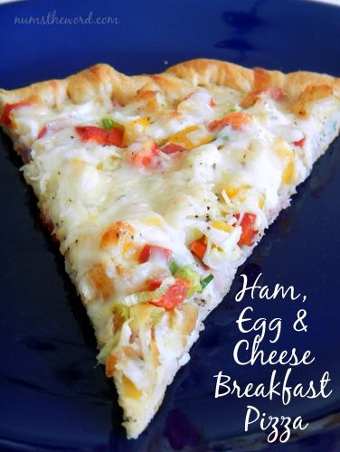 This fun and easy breakfast or brunch idea will be a hit with your family! Ham, Egg and Cheese Breakfast Pizza is delicious and another great way to use up left over ham!