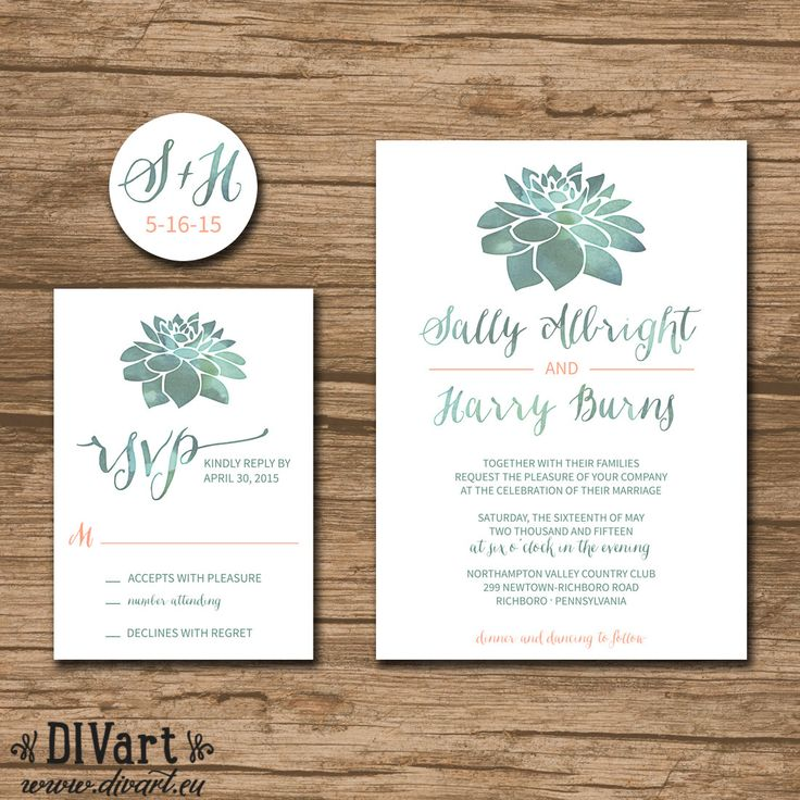 Succulent Wedding Invitation Suite, Response Card, Monogram - PRINTABLE files - rustic wedding, watercolor succulent, green - coral - Sonja by DIVart on Etsy https://www.etsy.com/listing/215908977/succulent-wedding-invitation-suite