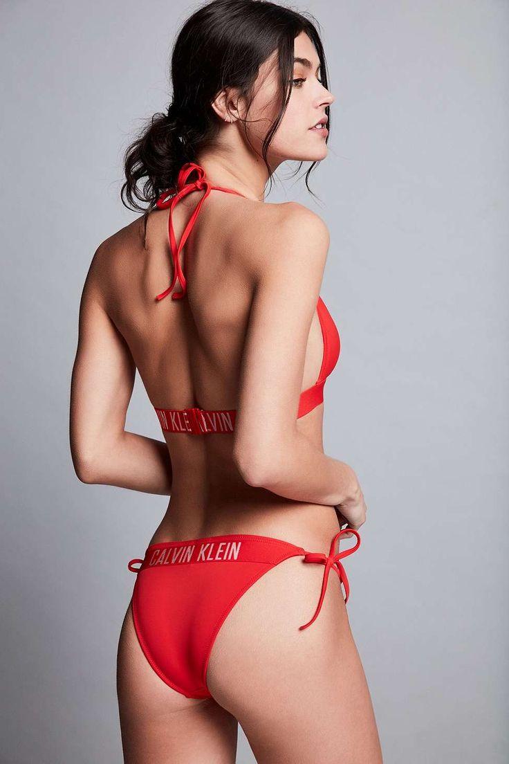 Calvin Klein Fiery Red Triangle Bikini Top