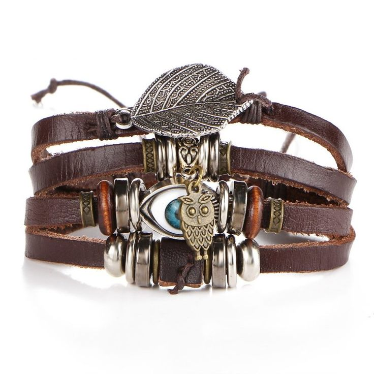 Turkish Eye Protection Leather Bracelet featuring an eye, a leaf, an owl ($18USD) - SharezUp donates one clothing piece of your choice to people in need for every sale. Let's #changetheworld together!