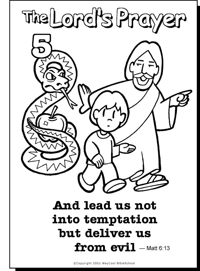Lead Us Not Colouring Page Sunday School Prayer