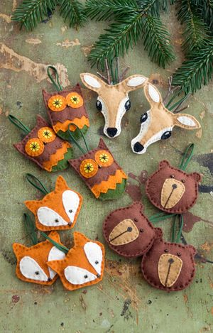 Felt woodland creatures cabin lodge ornaments