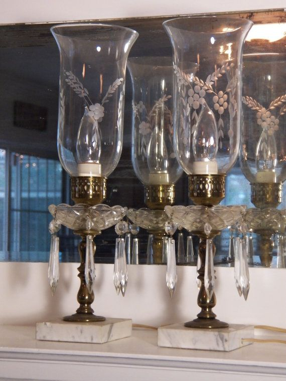 Antique Pair Crystal Table Lamps Brass And Marble Base