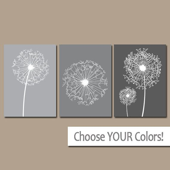 DANDELION Wall Art Gray Bedroom Pictures CANVAS or por TRMdesign