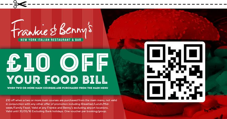 £10 Off your food bill at Frankie & Bennys