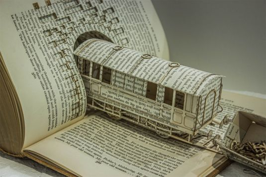 Created by Edinburgh-based student Thomas Wightman, these book sculptures aim to create a visual metaphor to convey the emotions of obsessive-compulsive disorder, and embodies his research by visualising an expression used by a sufferer of OCD. #paper_art #typography #book_arts