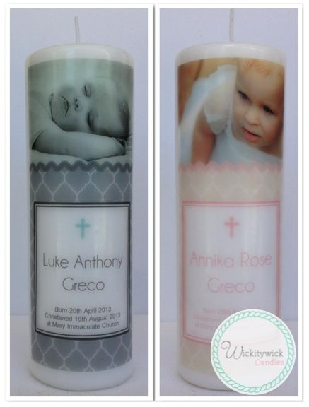 Purity Photo Personalised Candles by Wickitywick Candles #Baptism Candle #Christening Candle #Naming Day Candle www.wickitywickcandles.com.au